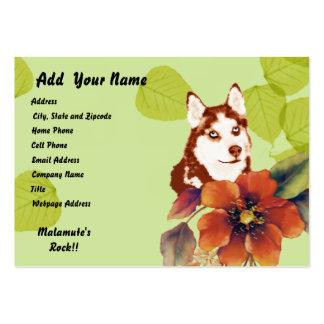 Alaskan Malamute ~ Green Leaves Design Large Business Card