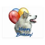 Alaskan Malamute Happy Birthday Balloons Post Cards