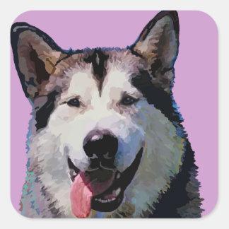 "Alaskan Malamute ""Kiska""  Painting Square Sticker"