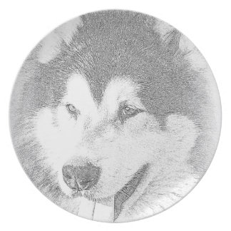 Alaskan Malamute Melamine Plate