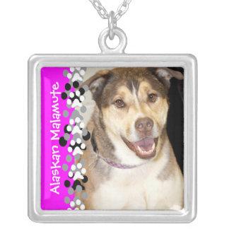 Alaskan Malamute Mix Photo Square Pendant Necklace