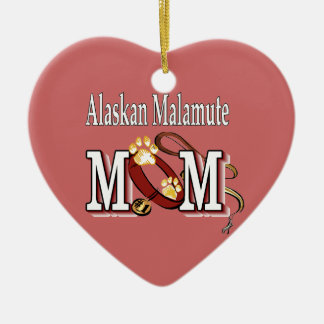 Alaskan Malamute, MOM Gifts Double-Sided Heart Ceramic Christmas Ornament