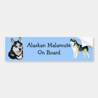 Alaskan Malamute on board bumper sticker