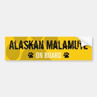 Alaskan Malamute on Board Car Bumper Sticker