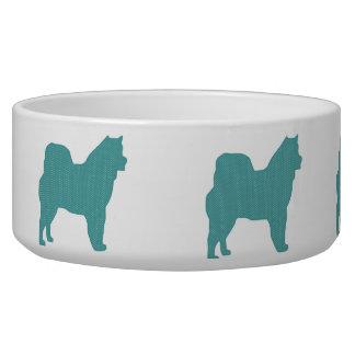 Alaskan Malamute Polka Dot Dog Silhouette Dog Water Bowl