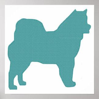 Alaskan Malamute Polka Dot Dog Silhouette Print