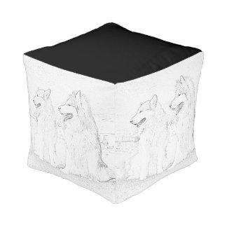 Alaskan malamute Poufs. Cube Pouf