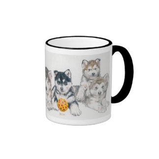 Alaskan Malamute Puppies Ringer Coffee Mug