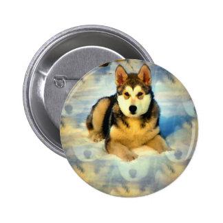 Alaskan Malamute Puppies Round Button