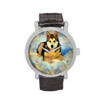 Alaskan Malamute Puppies Wristwatch