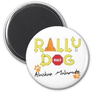 Alaskan Malamute Rally Dog 2 Inch Round Magnet