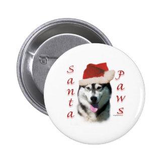 Alaskan Malamute Santa Paws 2 Inch Round Button