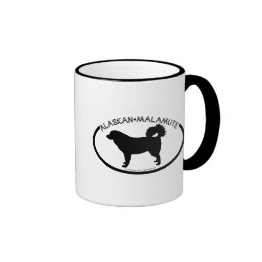 Alaskan Malamute Silhouette Black Mug