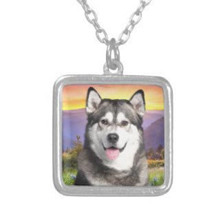 Alaskan Malamute Silver Plated Necklace