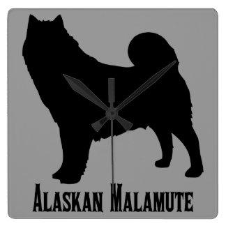 Alaskan Malamute Square Wall Clock
