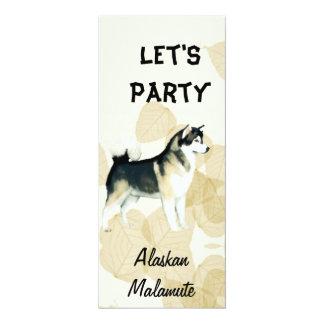 Alaskan Malamute ~ Tan Leaves Motiff 4x9.25 Paper Invitation Card