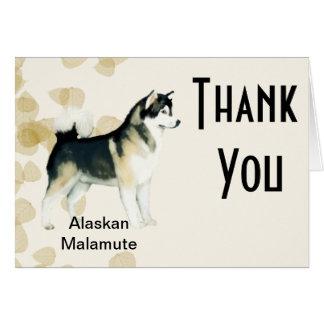 Alaskan Malamute ~ Tan Leaves Motiff Card