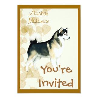 Alaskan Malamute ~ Tan Leaves Motiff Personalized Invitations
