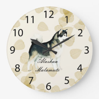 Alaskan Malamute ~ Tan Leaves Motiff Large Clock