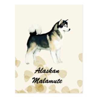 Alaskan Malamute ~ Tan Leaves Motiff Postcard