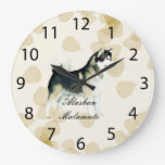 Alaskan Malamute ~ Tan Leaves Motiff Round Clock