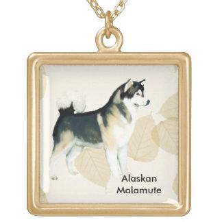 Alaskan Malamute ~ Tan Leaves Motiff Square Pendant Necklace