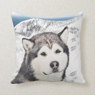 Alaskan Malamute Throw Pillow