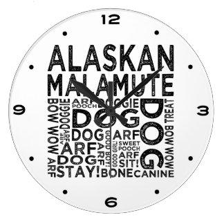 Alaskan Malamute Typography Large Clock