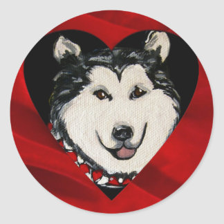 Alaskan Malamute Valentine Classic Round Sticker