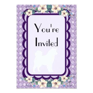 Alaskan Malamute Violet Floral Invite
