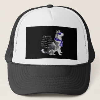 alaskan malamute wagging taiil trucker hat