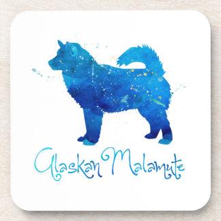 Alaskan Malamute Watercolor Coaster