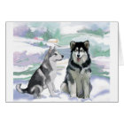 Alaskan Malamute Winter Scene Card