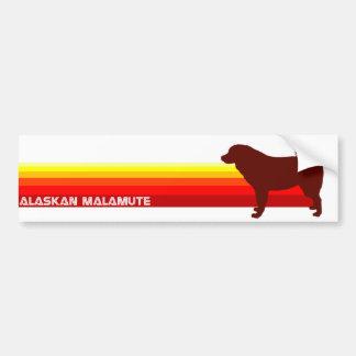 Alaskan Malamute With Stripes Bumper Sticker Car Bumper Sticker