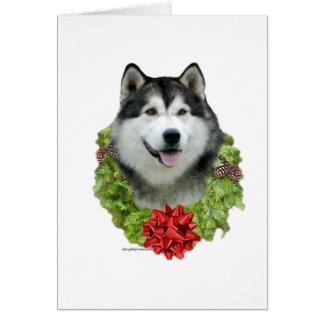 Alaskan Malamute Wreath Card