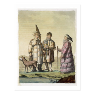 Alaskan men and women dressed for fishing (colour postcard