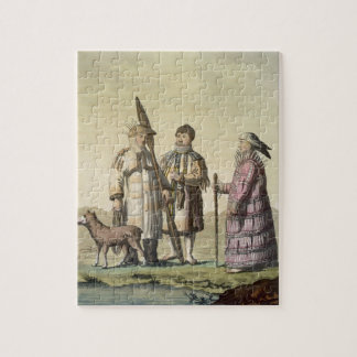 Alaskan men and women dressed for fishing (colour puzzle