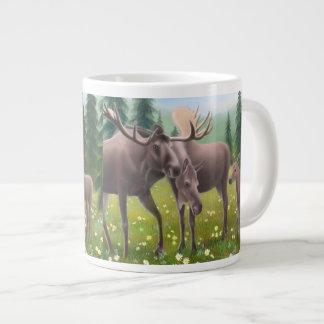 Alaskan Moose Family Jumbo Mug 20 Oz Large Ceramic Coffee Mug