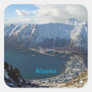 Alaskan Mountain Range and City Below Square Sticker
