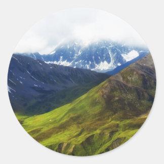 Alaskan Mountains Scene Classic Round Sticker