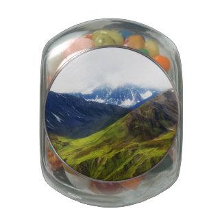 Alaskan Mountains Scene Jelly Belly Candy Jar