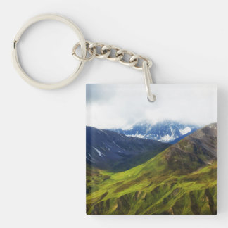 Alaskan Mountains Scene Square Acrylic Keychain