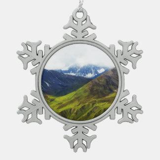 Alaskan Mountains Scene Snowflake Pewter Christmas Ornament