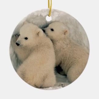 Alaskan Polar Bear Cubs Double-Sided Ceramic Round Christmas Ornament