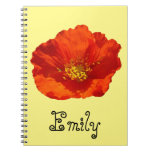 Alaskan Red Poppy Colorful Flower Spiral Notebook