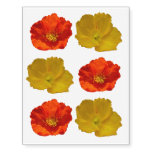 Alaskan Red Poppy Colorful Flower Temporary Tattoos