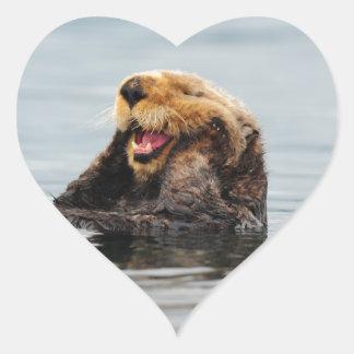 Alaskan Sea Otter Heart Sticker