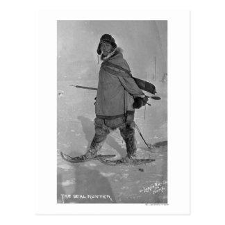 Alaskan Seal Hunter with Snowshoes Photograph Postcard