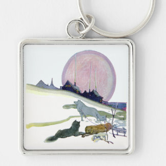 Alaskan Sled Dogs in the Snow Keychain
