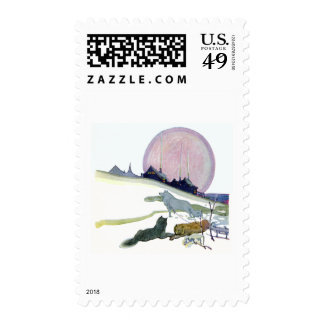Alaskan Sled Dogs in the Snow Postage Stamps